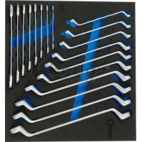 Kilpinių (2140/10) + atvirais galais (2130/8) raktų k-tas (6x7-24x27) su įdėklu vežimėliui 18 dalių