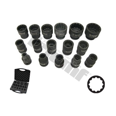 Smūginių 1/2 galvų komplektas 12-kampės (8-32mm)
