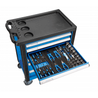 Įrankių vežimėlis 6 stalčių su 154 įrankiais