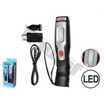 Darbo/apžiūrėjimo lempa COB-LED (įkraunama)