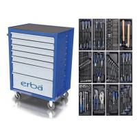 ERBA Įrankių vežimėlis 7 stalčių su 158 įrankiais