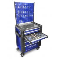 Įrankių vežimėlis 7 stalčių su 158 įrankiais + sienele su kabliukais