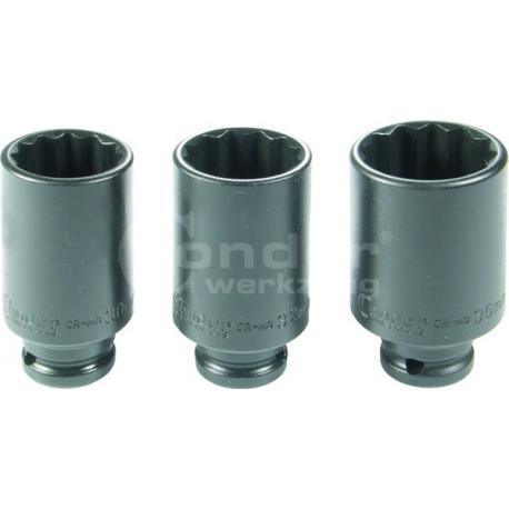 Smūginių 1/2 ilgų galvučių rinkinys Cr-Mo 12-kampės (30,32,36 mm)