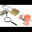 Fastening belts, locks, magnifying glasses